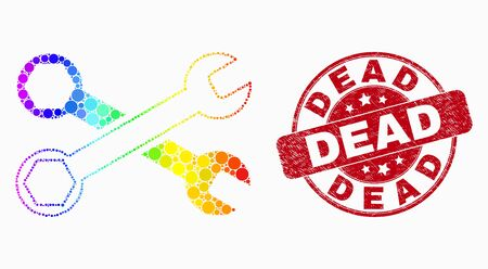 Pixelated spectral wrenches mosaic pictogram and Dead seal stamp. Red vector round textured seal with Dead title. Vector collage in flat style. Spectral gradient wrenches illustration of random dots, 일러스트