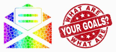 Pixelated bright spectral open mail mosaic pictogram and What Are Your Goals? stamp. Red vector round textured seal stamp with What Are Your Goals? phrase. Vector composition in flat style.