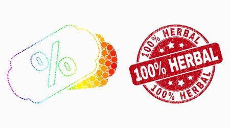 Pixel spectral percent tags mosaic icon and 100% Herbal seal stamp. Red vector round textured seal stamp with 100% Herbal title. Vector combination in flat style. Ilustrace