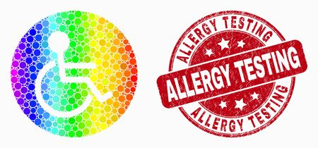 Dot rainbow gradiented wheelchair person mosaic icon and Allergy Testing seal. Red vector round grunge seal stamp with Allergy Testing message. Vector collage in flat style.