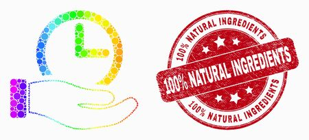 Dot rainbow gradiented time service hand mosaic icon and 100% Natural Ingredients seal stamp. Red vector round grunge seal with 100% Natural Ingredients text. Vector collage in flat style. Иллюстрация