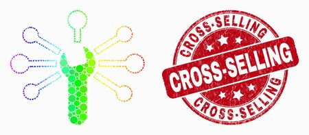 Dot rainbow gradiented wrench links mosaic pictogram and Cross-Selling watermark. Red vector round grunge seal stamp with Cross-Selling phrase. Vector collage in flat style.