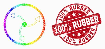 Pixel bright spectral turbine rotation mosaic icon and 100% Rubber stamp. Red vector round textured stamp with 100% Rubber title. Vector composition in flat style. Иллюстрация