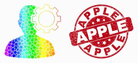 Dotted bright spectral user options gear mosaic pictogram and Apple seal stamp. Red vector round distress stamp with Apple phrase. Vector combination in flat style.
