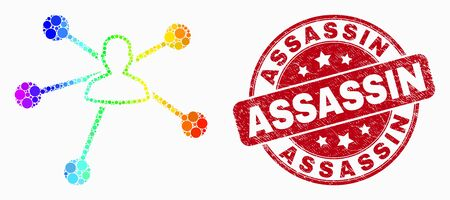 Dotted spectral user links mosaic pictogram and Assassin stamp. Red vector rounded textured stamp with Assassin phrase. Vector composition in flat style.