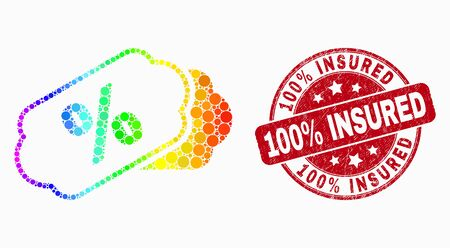 Pixel spectral percent tags mosaic icon and 100% Insured seal stamp. Red vector rounded distress stamp with 100% Insured caption. Vector combination in flat style. Иллюстрация
