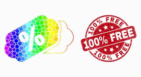 Pixel spectrum percent tags mosaic pictogram and 100% Free seal. Red vector round distress seal stamp with 100% Free title. Vector combination in flat style. Иллюстрация