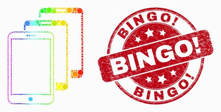 Pixel bright spectral smartphones mosaic pictogram and Bingo! seal. Red vector round distress seal stamp with Bingo! message. Vector composition in flat style.