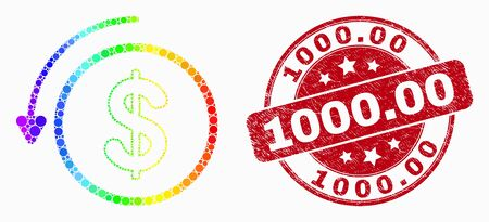 Dotted rainbow gradiented undo payment mosaic pictogram and 1000.00 stamp. Red vector rounded grunge stamp with 1000.00 text. Vector collage in flat style. Foto de archivo - 129716936