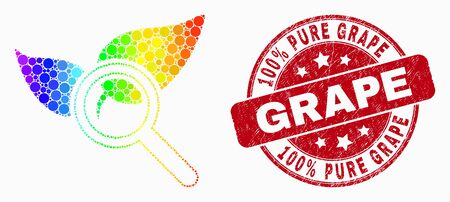 Pixelated spectrum search flora plant mosaic pictogram and 100% Pure Grape seal stamp. Red vector round textured seal with 100% Pure Grape title. Vector collage in flat style. Иллюстрация