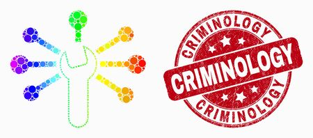 Dotted bright spectral wrench links mosaic icon and Criminology seal. Red vector round scratched stamp with Criminology phrase. Vector composition in flat style. Иллюстрация