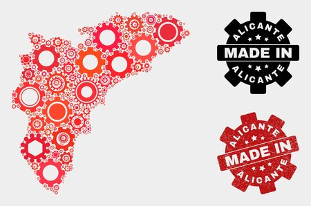 Mosaic industrial Alicante Province map and scratched stamp. Vector geographic abstraction in red colors. Mosaic of Alicante Province map combined of random cogwheel items.