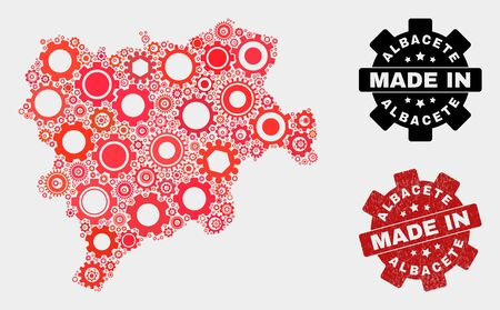 Mosaic industrial Albacete Province map and scratched stamp. Vector geographic abstraction in red colors. Mosaic of Albacete Province map combined of random gearwheel items.