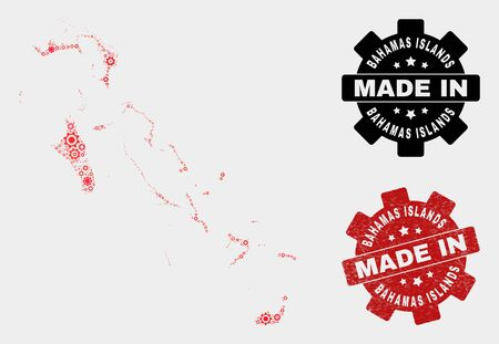 Mosaic gear Bahamas Islands map and textured seal. Vector geographic abstraction in red colors. Mosaic of Bahamas Islands map combined of scattered gear items. Red colored model for mechanic,