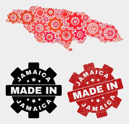 Mosaic industrial Jamaica map and textured stamp. Vector geographic abstraction in red colors. Mosaic of Jamaica map combined of random cog elements. Red colored model for service,