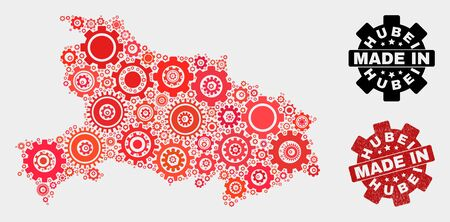 Mosaic gear Hubei Province map and textured stamp. Vector geographic abstraction in red colors. Mosaic of Hubei Province map combined of random gear elements. Red colored model for mechanic,