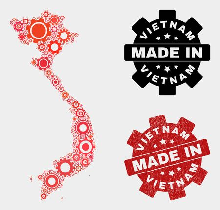 Mosaic gear Vietnam map and scratched stamp. Vector geographic abstraction in red colors. Mosaic of Vietnam map combined of random gear elements. Red colored model for industrial,