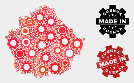 Mosaic gear Cuenca Province map and grunge seal. Vector geographic abstraction in red colors. Mosaic of Cuenca Province map combined of random wheel elements. Red colored model for workshop,