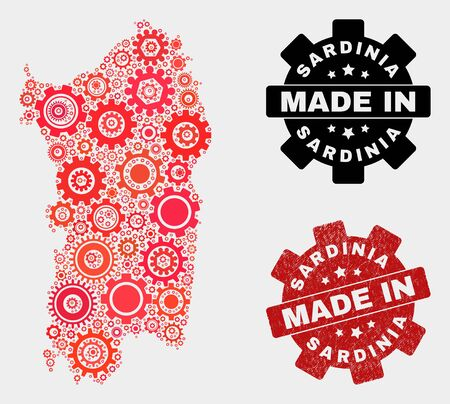 Mosaic industrial Sardinia map and grunge stamp. Vector geographic abstraction in red colors. Mosaic of Sardinia map composed from scattered cogwheel items. Red colored model for industrial,
