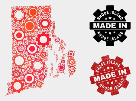 Mosaic gear Rhode Island State map and textured seal. Vector geographic abstraction in red colors. Mosaic of Rhode Island State map combined of scattered cog items. Red colored model for industrial,