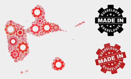 Mosaic gear Guadeloupe map and scratched seal. Vector geographic abstraction in red colors. Mosaic of Guadeloupe map combined of random cogwheel elements. Red colored model for service,