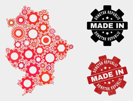 Mosaic gear Donetsk Republic map and textured stamp. Vector geographic abstraction in red colors. Mosaic of Donetsk Republic map combined of scattered cog elements. Red colored model for industrial, Ilustração