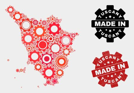 Mosaic technical Tuscany region map and textured stamp. Vector geographic abstraction in red colors. Mosaic of Tuscany region map combined of random gear items. Red colored model for technical, Ilustração