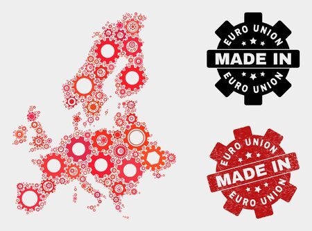 Mosaic industrial Euro Union map and grunge seal. Vector geographic abstraction in red colors. Mosaic of Euro Union map combined of scattered cogwheel items. Red colored model for mechanic, Banco de Imagens - 132227221