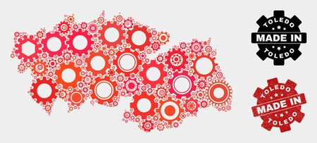 Mosaic technical Toledo Province map and textured stamp. Vector geographic abstraction in red colors. Mosaic of Toledo Province map combined of random wheel elements. Red colored model for technical, Illustration