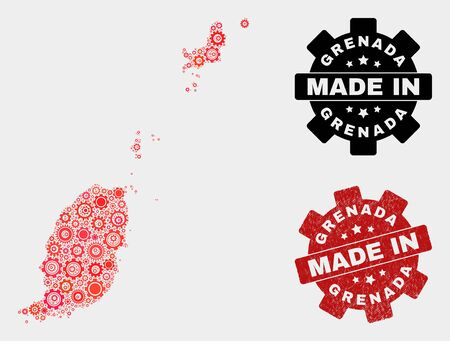 Mosaic industrial Grenada map and grunge seal. Vector geographic abstraction in red colors. Mosaic of Grenada map combined of scattered wheel items. Red colored model for technical,