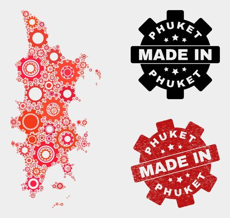 Mosaic gear Phuket map and scratched seal. Vector geographic abstraction in red colors. Mosaic of Phuket map designed from scattered gear items. Red colored model for industrial, or political posters. Ilustração