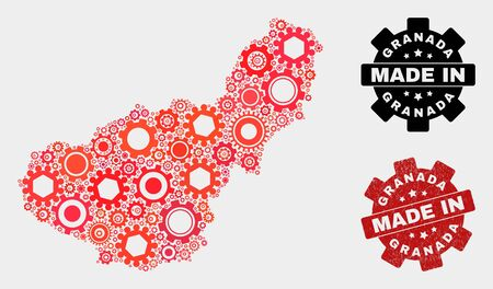 Mosaic industrial Granada Province map and grunge stamp. Vector geographic abstraction in red colors. Mosaic of Granada Province map combined of scattered gear items. Red colored model for mechanic,