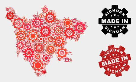 Mosaic industrial Sichuan Province map and grunge stamp. Vector geographic abstraction in red colors. Mosaic of Sichuan Province map combined of random wheel items. Red colored model for technical, Ilustração
