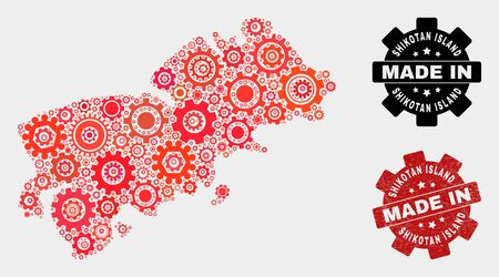 Mosaic technical Shikotan Island map and textured stamp. Vector geographic abstraction in red colors. Mosaic of Shikotan Island map combined of random gearwheel elements. Banco de Imagens - 132243460