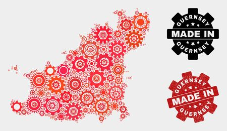 Mosaic gear Guernsey Island map and scratched stamp. Vector geographic abstraction in red colors. Mosaic of Guernsey Island map combined of random gearwheel elements. Red colored model for technical, Çizim