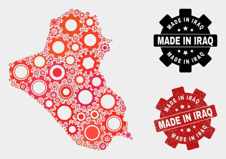 Mosaic gear Iraq map and scratched seal. Vector geographic abstraction in red colors. Mosaic of Iraq map combined of random gear items. Red colored model for mechanic, or patriotic purposes. 일러스트