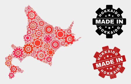 Mosaic gear Hokkaido map and grunge stamp. Vector geographic abstraction in red colors. Mosaic of Hokkaido map combined of scattered gear elements. Red colored model for mechanic,