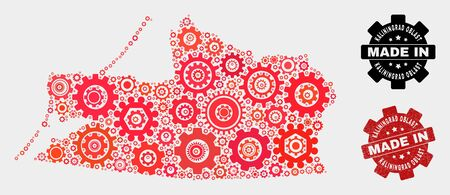 Mosaic gear Kaliningrad Region map and textured seal. Vector geographic abstraction in red colors. Mosaic of Kaliningrad Region map combined of scattered cogwheel elements. 일러스트
