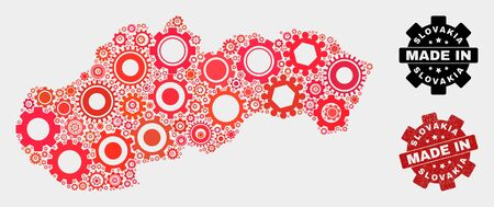Mosaic technical Slovakia map and grunge seal. Vector geographic abstraction in red colors. Mosaic of Slovakia map combined of random gear elements. Red colored model for technical, 일러스트