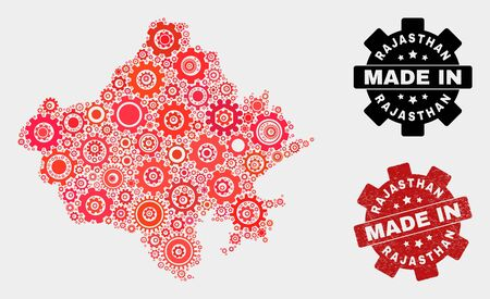 Mosaic industrial Rajasthan State map and scratched seal. Vector geographic abstraction in red colors. Mosaic of Rajasthan State map composed from random gearwheel items. Çizim