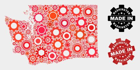 Mosaic technical Washington State map and grunge stamp. Vector geographic abstraction in red colors. Mosaic of Washington State map combined of random gear elements. Red colored model for service,