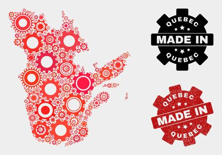Mosaic industrial Quebec Province map and scratched stamp. Vector geographic abstraction in red colors. Mosaic of Quebec Province map composed from scattered wheel elements.