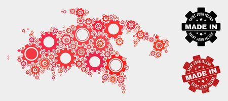 Mosaic gear Saint John Island map and textured seal. Vector geographic abstraction in red colors. Mosaic of Saint John Island map combined of random gear items. Red colored model for service,