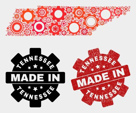 Mosaic gear Tennessee State map and grunge stamp. Vector geographic abstraction in red colors. Mosaic of Tennessee State map combined of scattered gear items. Red colored model for service,