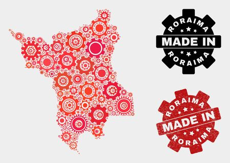 Mosaic industrial Roraima State map and scratched stamp. Vector geographic abstraction in red colors. Mosaic of Roraima State map combined of random cogwheel items. Red colored model for industrial, 일러스트