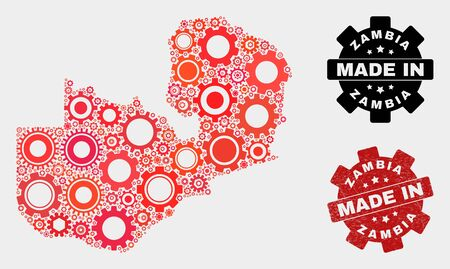 Mosaic industrial Zambia map and scratched stamp. Vector geographic abstraction in red colors. Mosaic of Zambia map composed from scattered gearwheel elements. Red colored model for industrial,