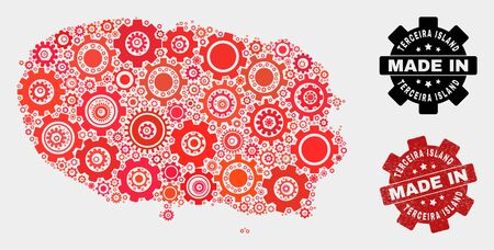 Mosaic industrial Terceira Island map and grunge seal. Vector geographic abstraction in red colors. Mosaic of Terceira Island map combined of random wheel items. Red colored model for industrial,