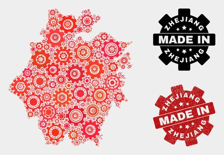 Mosaic industrial Zhejiang Province map and grunge stamp. Vector geographic abstraction in red colors. Mosaic of Zhejiang Province map combined of scattered gear items.