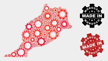 Mosaic gear Morocco map and textured stamp. Vector geographic abstraction in red colors. Mosaic of Morocco map designed from scattered gear elements. Red colored model for service, Ilustração