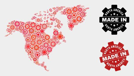 Mosaic industrial North America map and textured stamp. Vector geographic abstraction in red colors. Mosaic of North America map combined of random cogwheel items. Red colored model for service,